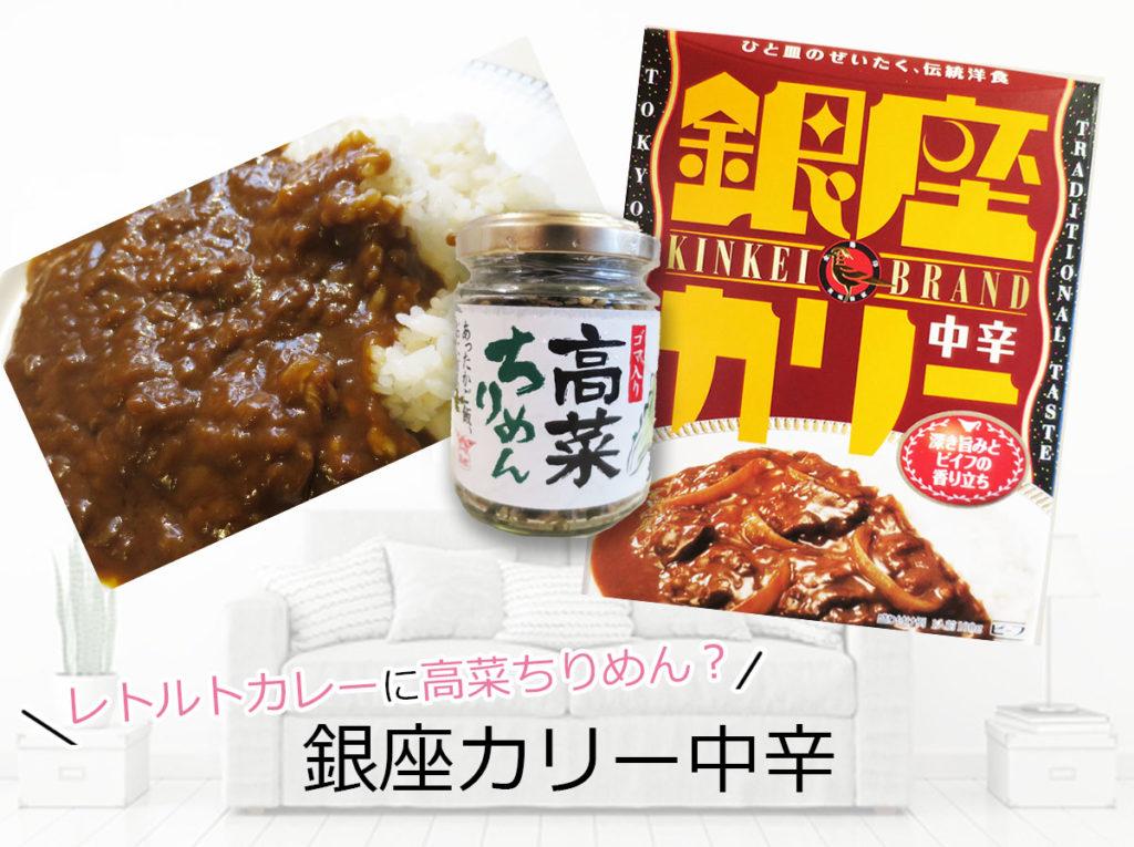 レトルトカレー銀座カリー中辛 ちょい足しアレンジ「高菜」